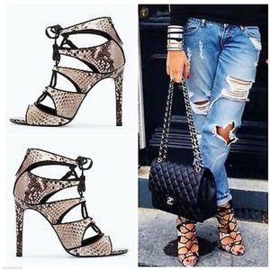 ZARA • Snake print Lace up Sandals